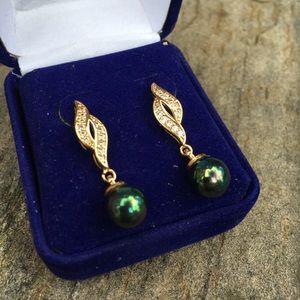 Shell Pearl Gold Filled Dangle Stud Earrings